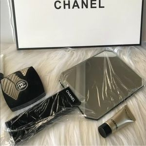 Authentic Black Chanel handheld mirror